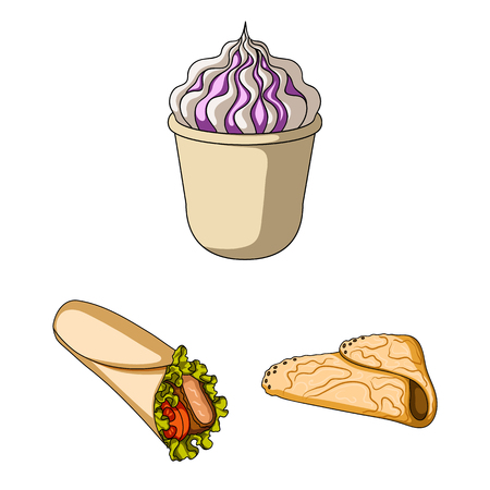 Fast food cartoon icons in set collection for design.Food from semi-finished products vector symbol stock web illustration.