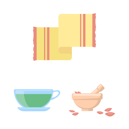 Spa salon and equipment cartoon icons in set collection for design. Relaxation and rest vector symbol stock web illustration.
