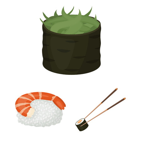 Sushi and seasoning cartoon icons in set collection for design. Seafood food, accessory vector symbol stock web illustration.