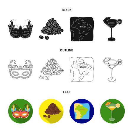 Brazil, country, mask, carnival . Brazil country set collection icons in black,flat,outline style vector symbol stock illustration web.