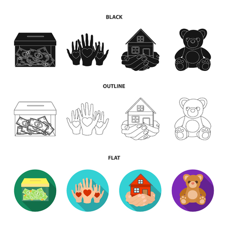 Boxing glass with donations, hands with hearts, house in hands, teddy bear for charity. Charity and donation set collection icons in black,flat,outline style vector symbol stock illustration web. Illustration