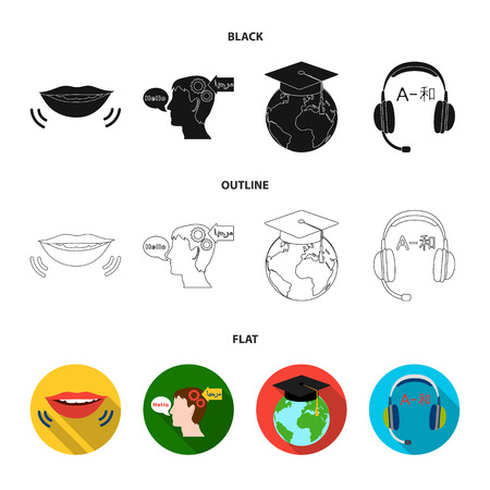 The mouth of the person speaking, the person head translating the text, the globe with the master cap, the headphones with the translation. Interpreter and translator set collection icons in black,flat,outline style vector symbol stock illustration web.