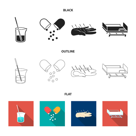 Solution, tablet, acupuncture, hospital gurney.Medicine set collection icons in black,flat,outline style vector symbol stock illustration web.