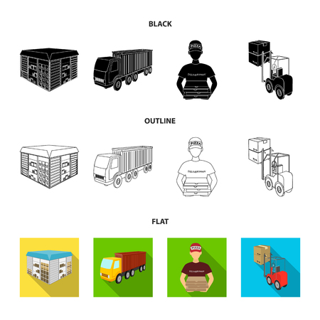 Truck, courier for delivery of pizza, forklift, storage room. Logistics and delivery set collection icons in black,flat,outline style isometric vector symbol stock illustration web.