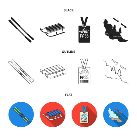 Ski, sled, lifeguard badge, badge avalanche. Ski resort set collection icons in black,flat,outline style vector symbol stock illustration web.