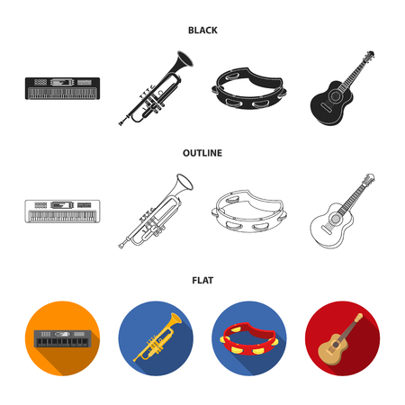 Electro organ, trumpet, tambourine, string guitar. Musical instruments set collection icons in black,flat,outline style vector symbol stock illustration web.