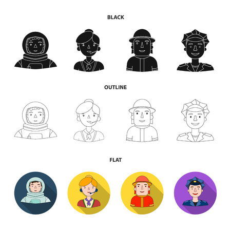An astronaut in a spacesuit, a co-worker with a microphone, a fireman in a helmet, a policeman with a badge on his cap. People of different professions set collection icons in black,flat,outline style vector symbol stock illustration web.