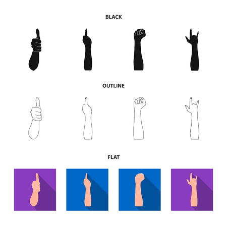 Sign Language black,flat,outline icons in set collection for design.Emotional part of communication vector symbol stock web illustration.