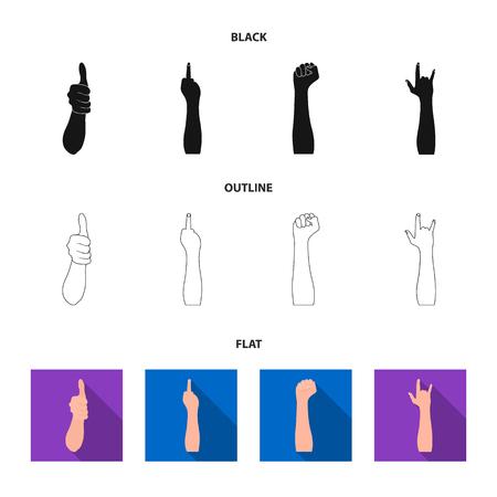 Sign Language black,flat,outline icons in set collection for design.Emotional part of communication vector symbol stock web illustration.