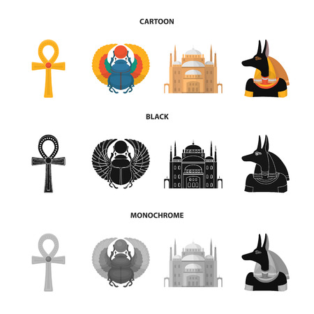 Anubis, Ankh, Cairo citadel, Egyptian. Ancient Egypt set collection icons in cartoon,black,monochrome style vector symbol stock illustration web.