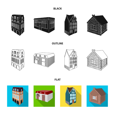 Residential house in English style, a cottage with stained-glass windows, a cafe building, a wooden hut. Architectural and building set collection icons in black,flat,outline style vector symbol stock illustration web. Çizim