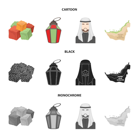 Eastern sweets, Ramadan lamp, Arab sheikh, territory.Arab emirates set collection icons in cartoon,black,monochrome style vector symbol stock illustration web.