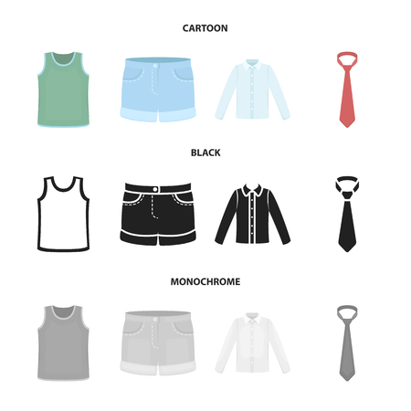 Shirt with long sleeves, shorts, T-shirt, tie.Clothing set collection icons in cartoon,black,monochrome style vector symbol stock illustration web.