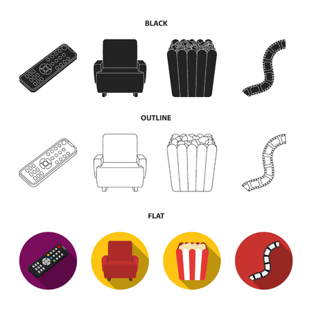 Control panel, an armchair for viewing, popcorn.Films and movies set collection icons in black,flat,outline style vector symbol stock illustration web.