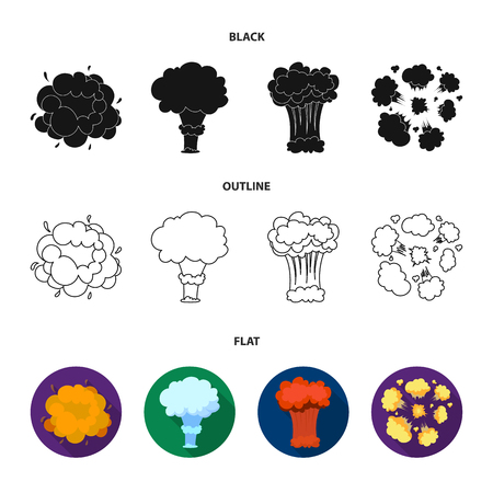 Flame, sparks, hydrogen fragments, atomic or gas explosion. Explosions set collection icons in black,flat,outline style vector symbol stock illustration web. Archivio Fotografico - 102381563