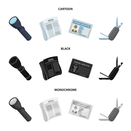 Flashlight, newspaper with news, certificate, folding knife.Detective set collection icons in cartoon,black,monochrome style vector symbol stock illustration web. Illustration