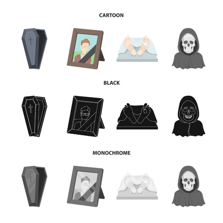 Coffin with a lid and a cross, a photograph of the deceased with a mourning ribbon, a corpse on the table with a tag in the morgue, death in a hood. Funeral ceremony set collection icons in cartoon,black,monochrome style vector symbol stock illustration web.