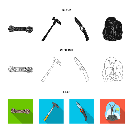 Climber on conquered top, coil of rope, knife, hammer.Mountaineering set collection icons in black,flat,outline style vector symbol stock illustration web.