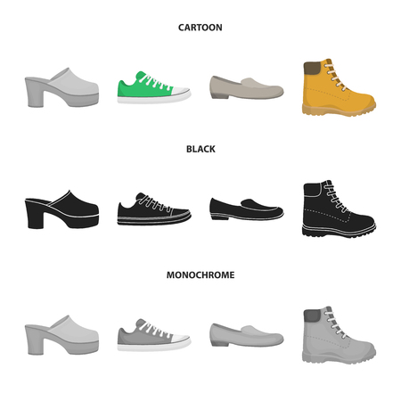 Flip-flops, clogs on a high platform and heel, green sneakers with laces, female gray ballet flats, red shoes on the tractor sole. Shoes set collection icons in cartoon,black,monochrome style vector symbol stock illustration web.