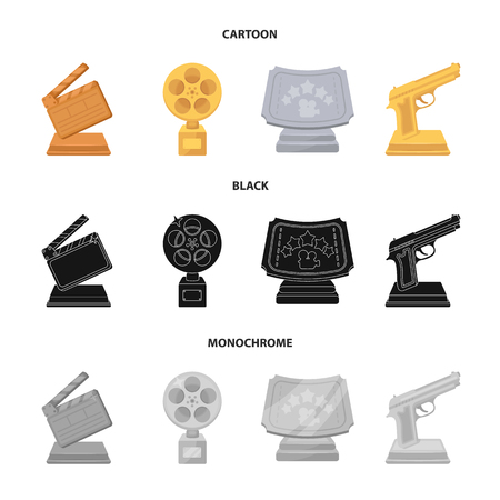 Gold pistol, silver prize for the best supporting role and other prizes.Movie awards set collection icons in cartoon,black,monochrome style vector symbol stock illustration web.