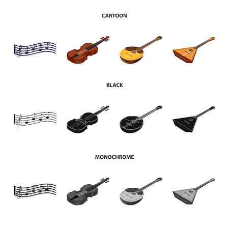 Musical instrument cartoon,black,monochrome icons in set collection for design. String and Wind instrument isometric vector symbol stock web illustration.