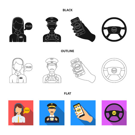 A taxi driver with a microphone, a taxi driver at the wheel, a cell phone with a number, a car steering wheel. Taxi set collection icons in black,flat,outline style vector symbol stock illustration web.
