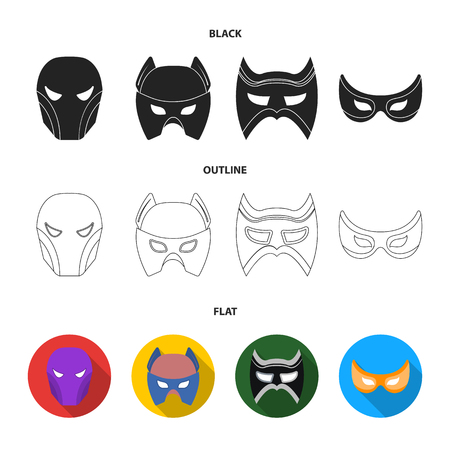 Mask on the head and eyes. Super Hero Mask set collection icons in black,flat,outline style vector symbol stock illustration web.