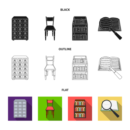 Cabinet with filing cabinet, chair, shelves, information search. Library and bookstore set collection icons in black,flat,outline style vector symbol stock illustration web.