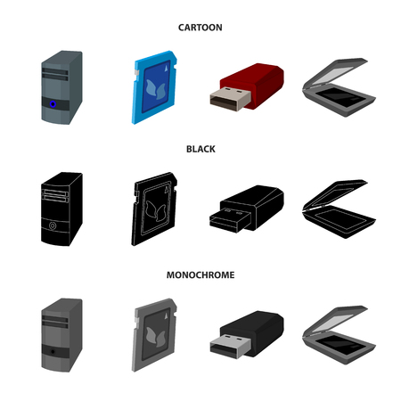 A system unit, a flash drive, a scanner and a SD card. Personal computer set collection icons in cartoon,black,monochrome style vector symbol stock illustration web.
