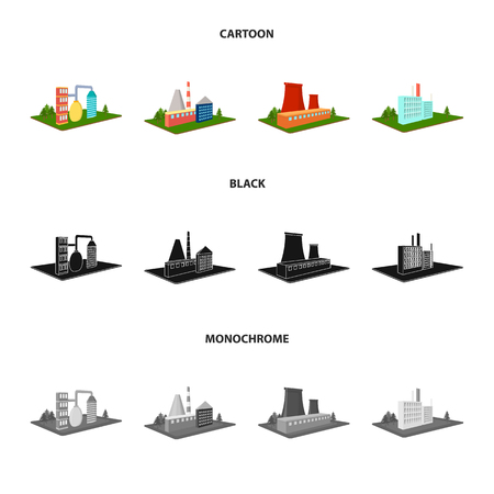 Processing factory,metallurgical plant. Factory and industry set collection icons in cartoon,black,monochrome style isometric vector symbol stock illustration web. Иллюстрация
