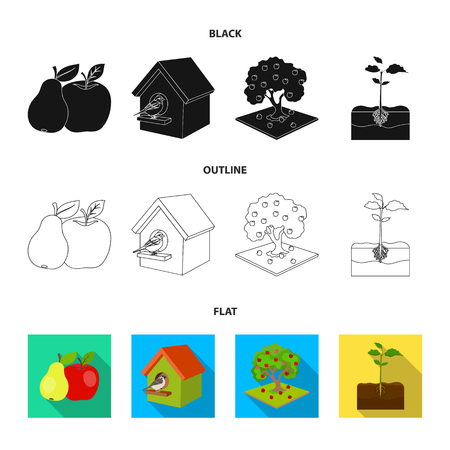 Garden, farming, nature and other web icon in black,flat,outline style. Plant, Root, stem, icons in set collection.