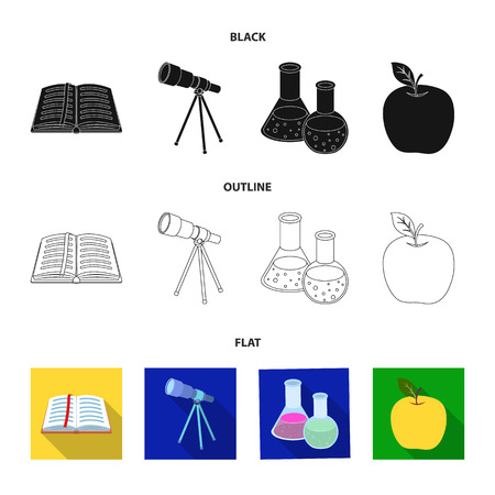 An open book with a bookmark, a telescope, flasks with reagents, a red apple. Schools and education set collection icons in black,flat,outline style vector symbol stock illustration .