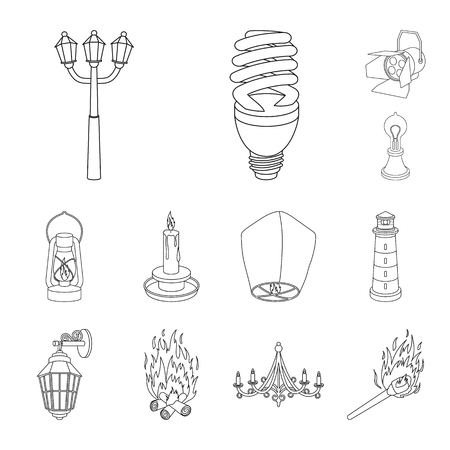 Light source outline icons in set collection for design. Light and equipment vector symbol stock  illustration.
