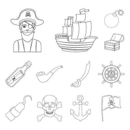 Pirate, sea robber outline icons in set collection for design. Treasures, attributes vector symbol stock  illustration.