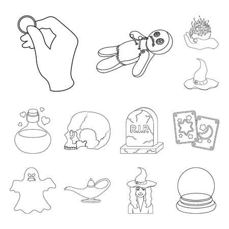 outline and white magic outline icons in set collection for design. Attributes and sorceress accessories vector symbol stock  illustration. Illustration