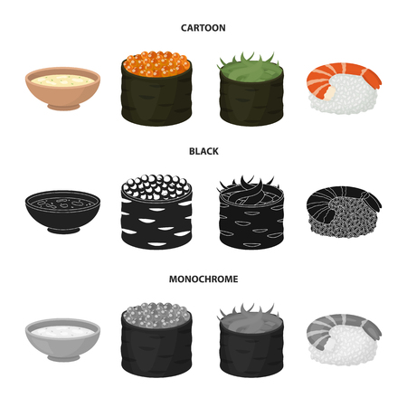 Bowl of soup, caviar, shrimp with rice. Sushi set collection icons in cartoon,black,monochrome style vector symbol stock illustration .