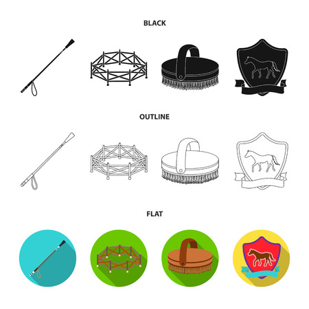 Aviary, whip, emblem, hippodrome .Hippodrome and horse set collection icons in black,flat,outline style vector symbol stock illustration . Illustration