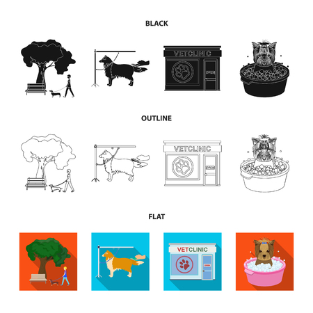 Walking with a dog in the park, combing a dog, a veterinarian office, bathing a pet. Vet clinic and pet care set collection icons in black,flat,outline style vector symbol stock illustration .