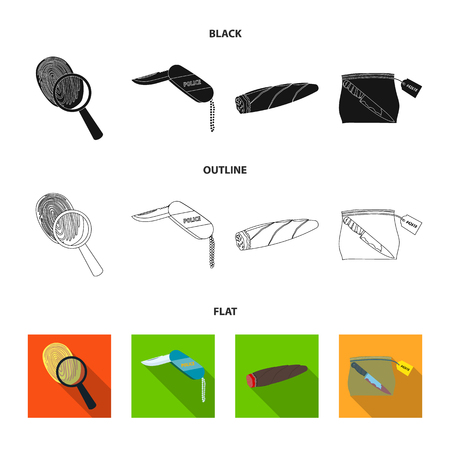 A fingerprint study, a folding knife, a cigar detective, a crime weapon tool in the package. Crime and detective set collection icons in black,flat,outline style vector symbol stock illustration .