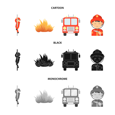 Fireman, flame, fire truck. Fire department set collection icons in cartoon,black,monochrome style vector symbol stock illustration .