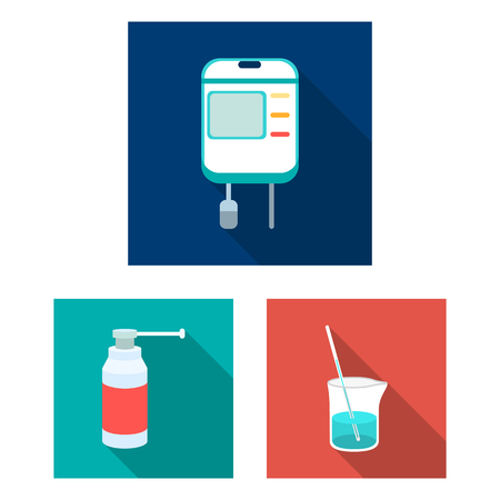 Medicine and treatment flat icons in set collection for design. Medicine and equipment vector symbol stock web illustration. Vectores