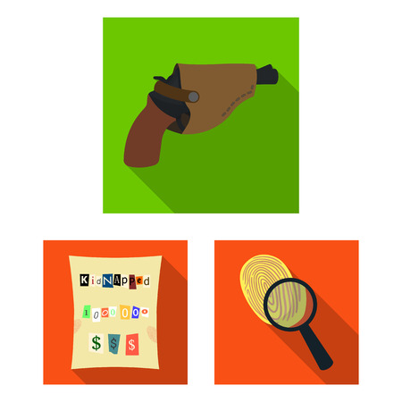 Detective agency flat icons in set collection for design. Crime and investigation vector symbol stock web illustration.