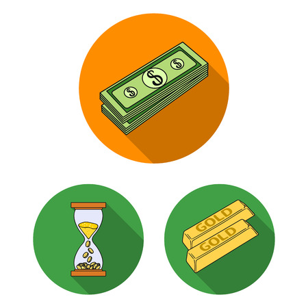 Money and Finance flat icons in set collection for design. Business and Success vector symbol stock web illustration.  イラスト・ベクター素材