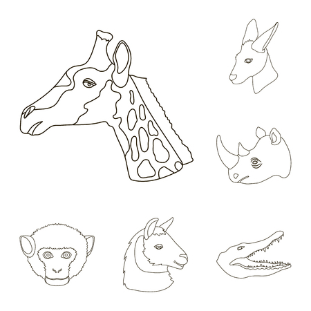 Wild animal outline icons in set collection for design. Mammal and bird vector symbol stock web illustration. Ilustracja