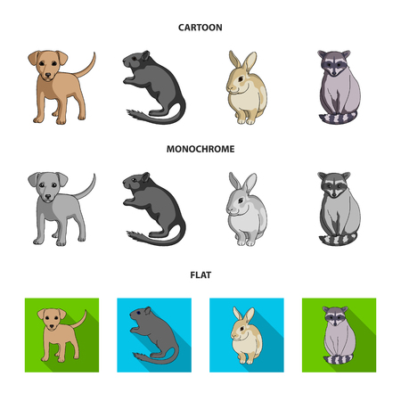 Puppy, rodent, rabbit and other animal species.Animals set collection icons in cartoon,flat,monochrome style vector symbol stock illustration web. Illustration