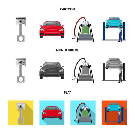 Car on lift, piston and pump cartoon,flat,monochrome icons in set collection for design.Car maintenance station vector symbol stock illustration web.