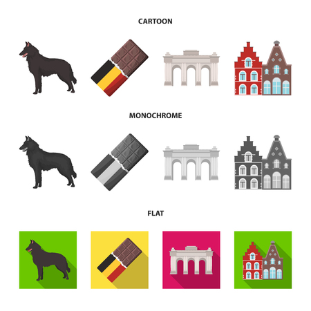 Chocolate, cathedral and other symbols of the country.Belgium set collection icons in cartoon,flat,monochrome style vector symbol stock illustration web.