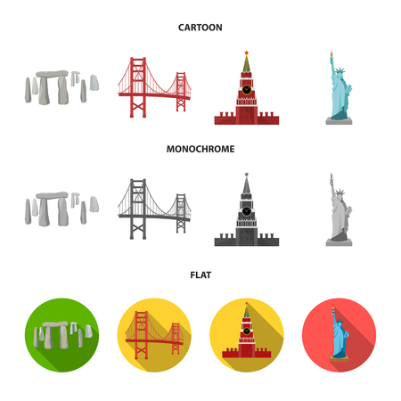 Sights of different countries cartoon,flat,monochrome icons in set collection for design. Famous building vector symbol stock web illustration.