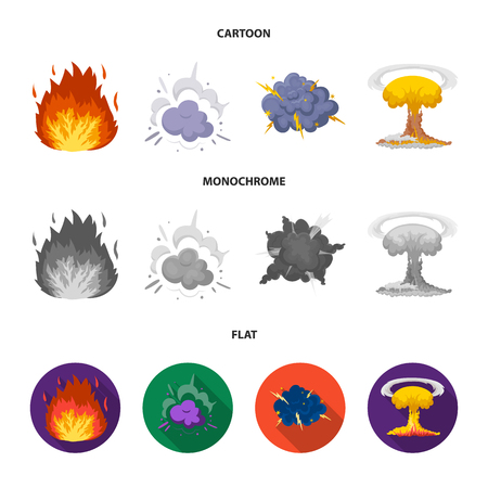 Flame, sparks, hydrogen fragments, atomic or gas explosion. Explosions set collection icons in cartoon,flat,monochrome style vector symbol stock illustration web. Archivio Fotografico - 102429196