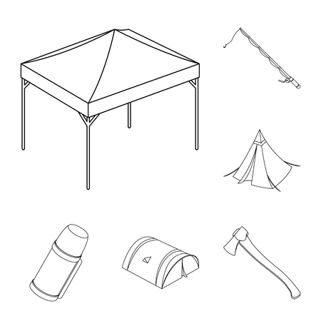 Different kinds of tents outline icons in set collection for design. Temporary shelter and housing vector symbol stock web illustration.